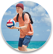 Optune® user  playing volleyball