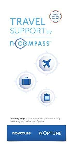 Travel Support by nCompass™ brochure discussing travel on the brain cancer treatment Optune® for glioblastoma (GBM)