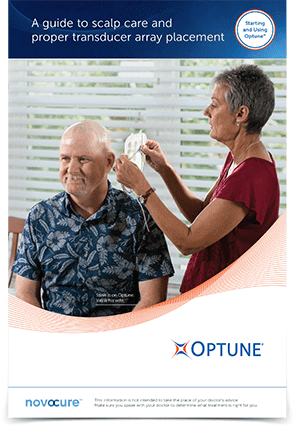 Patient scalp care guidelines on how to place arrays and prepare the scalp while on Optune® for glioblastoma (GBM) treatment
