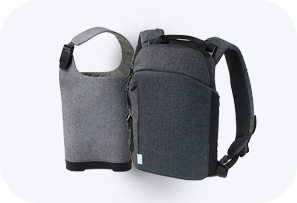 Contents of the Optune® system: Easy-access sleeve bag and convertible, 5-in-1 bag
